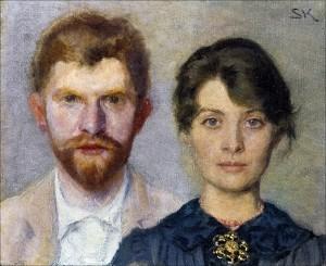 Dobbelt portræt af Marie og P. S. Krøyer, 1890. Krøyer malede Marie, og Marie malede ham.