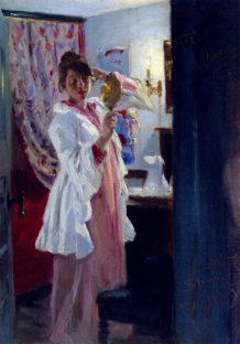 Interiør med Marie Krøyer. Malet af P.S. Krøyer. 1889