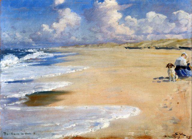 Marie Krøyer maler på Stenbjerg strand - 1889