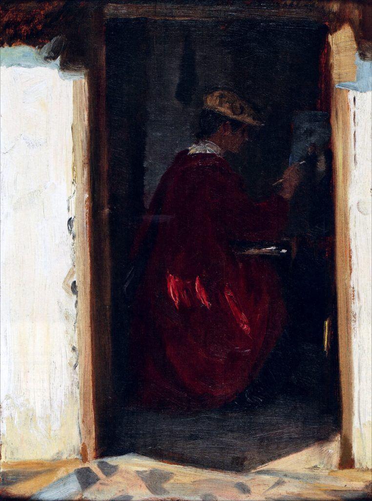 1890 - Marie Krøyer malende i Ravello